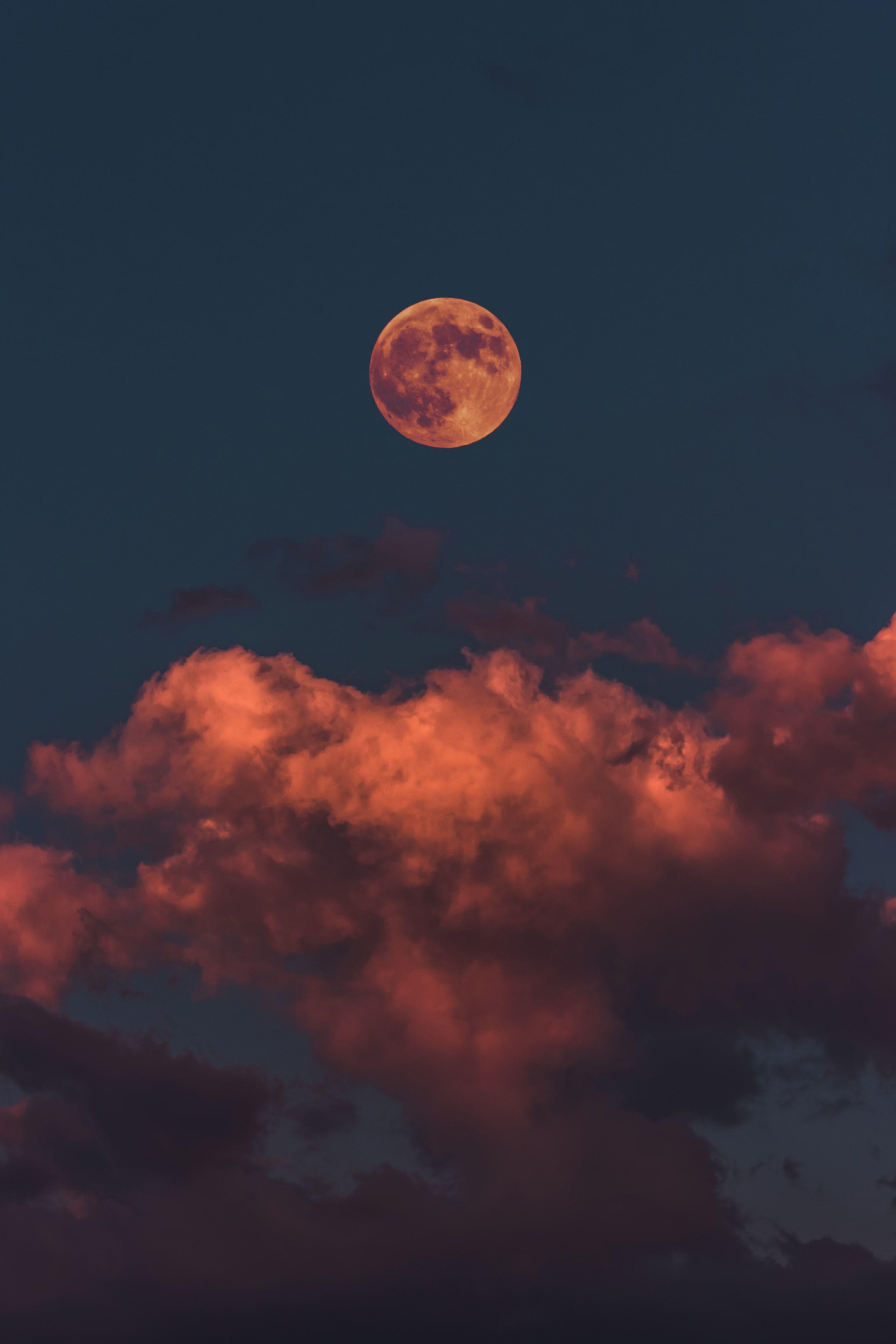 Картинка: Луна, небо, облака, освещение