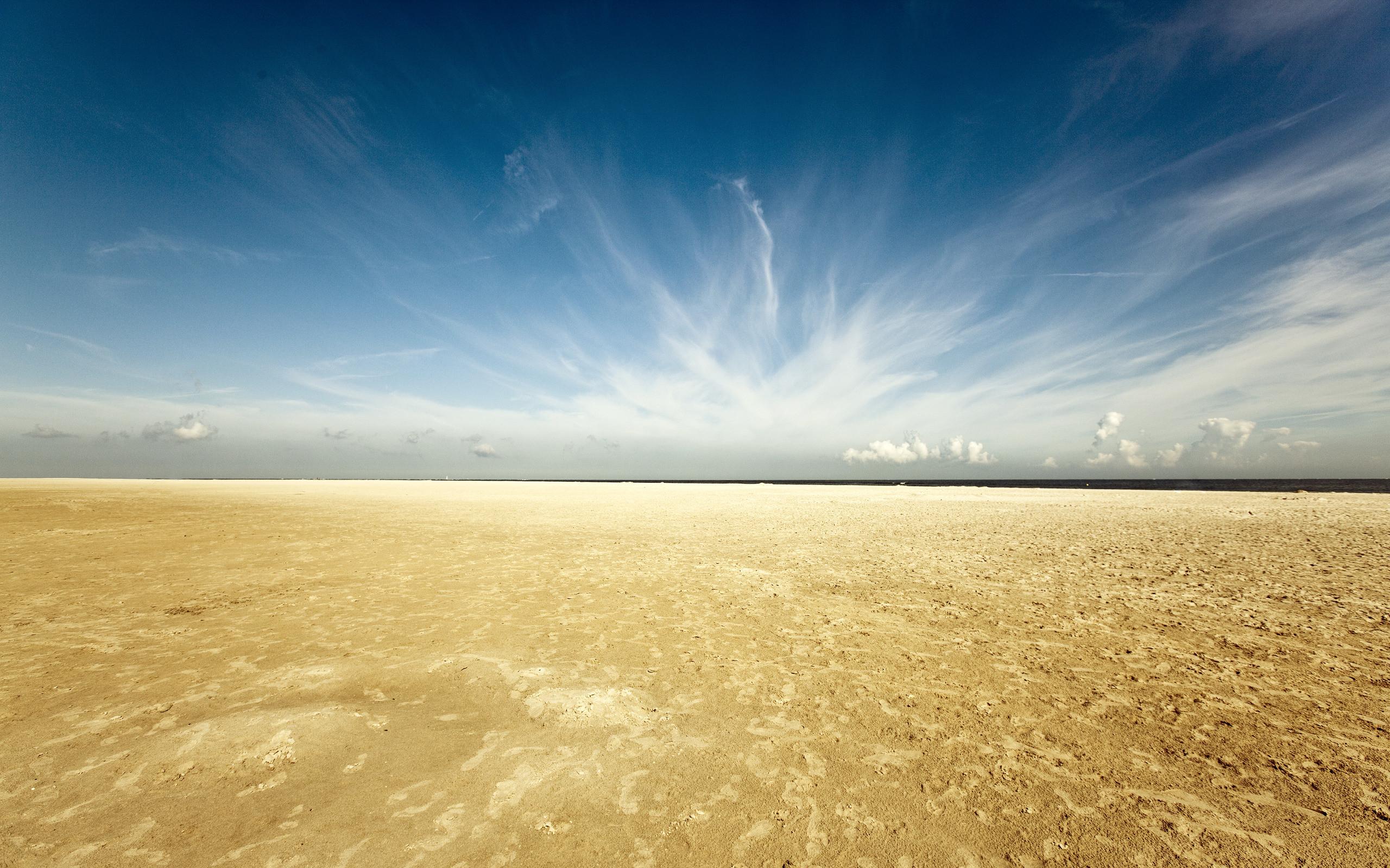 Картинка: Земля, песок, небо, горизонт, облака, пустыня