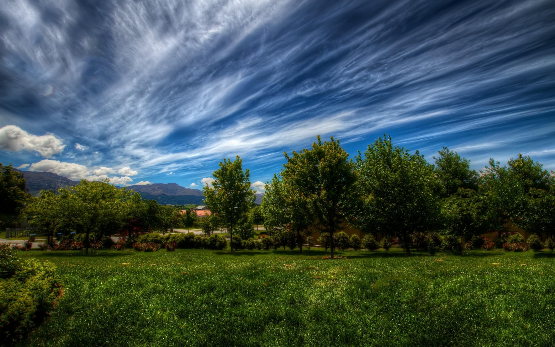 Картинка: Пейзаж, деревья, зелень, трава, облака, небо, горы