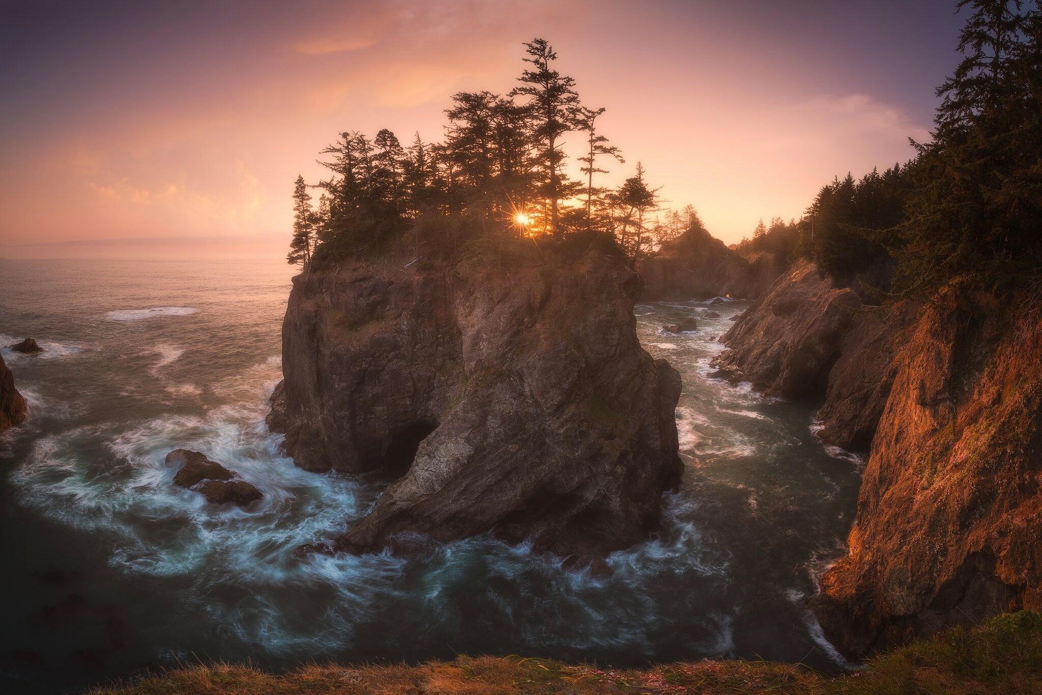 Картинка: природа, море, скалы, прибой, волны, закат