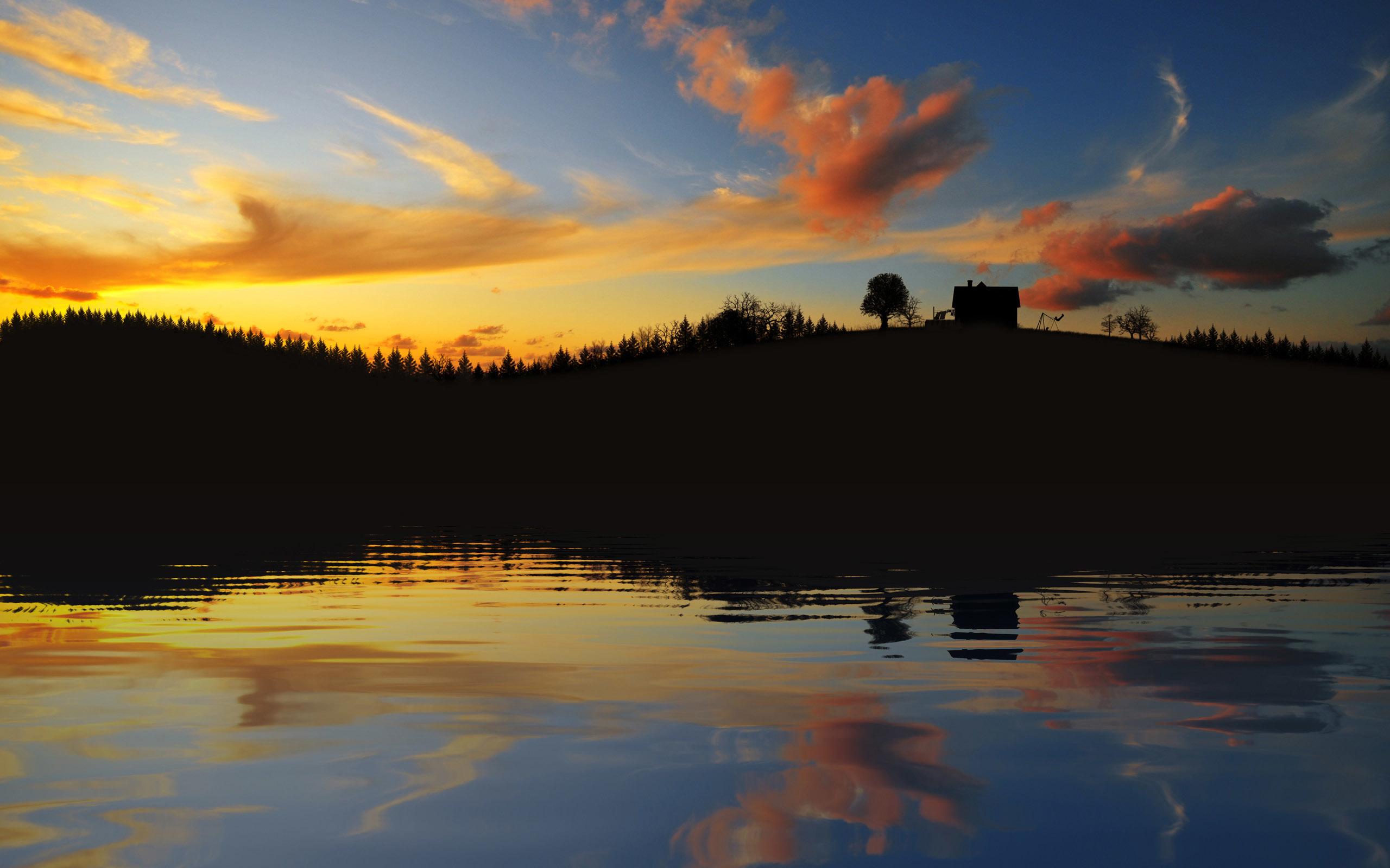 Картинка: Вечер, закат, пейзаж, дом, холм, вода, озеро, речка, деревья, облака, небо