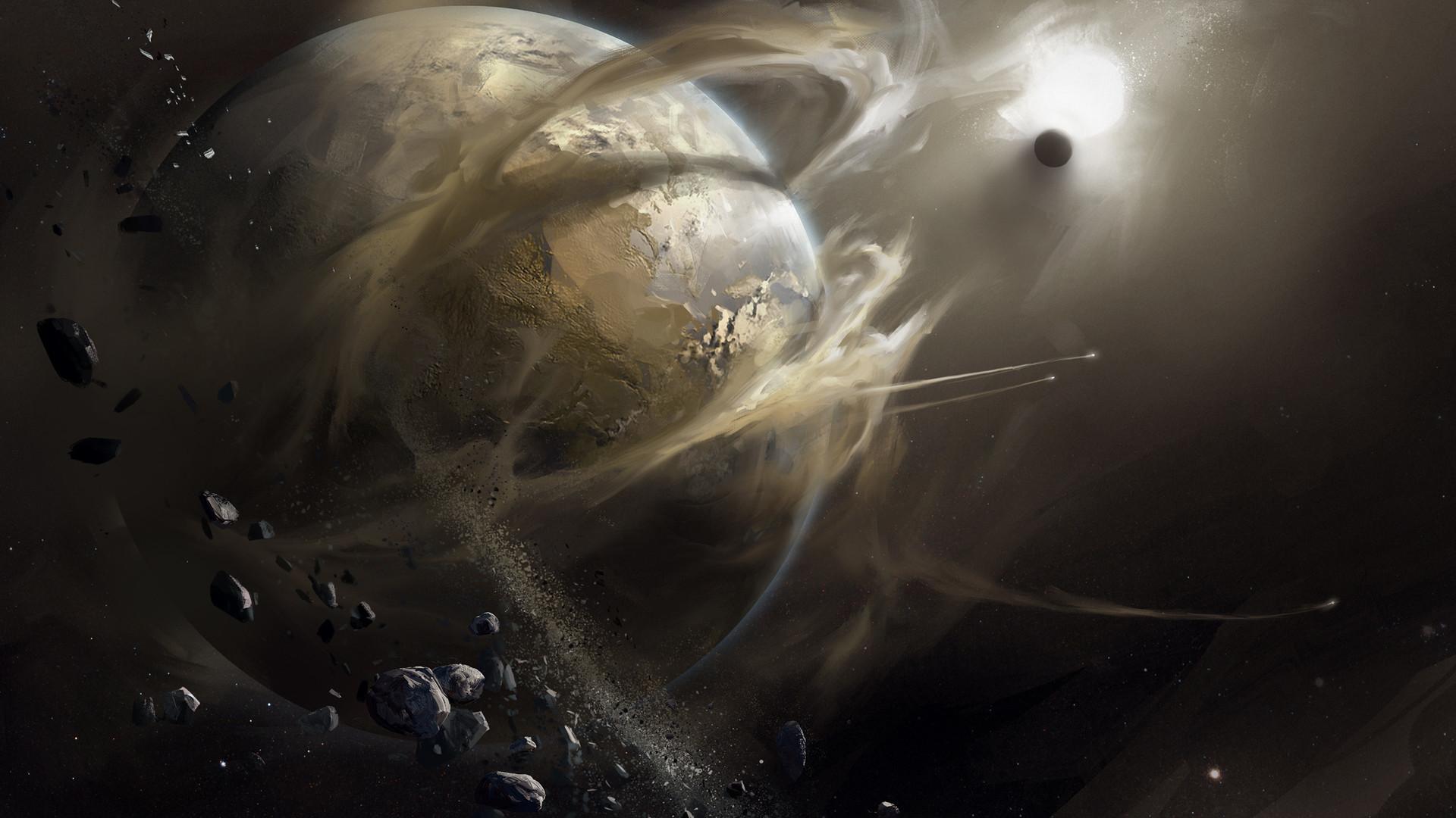 Картинка: Планеты, космос, пыль, звезда, камни, арт