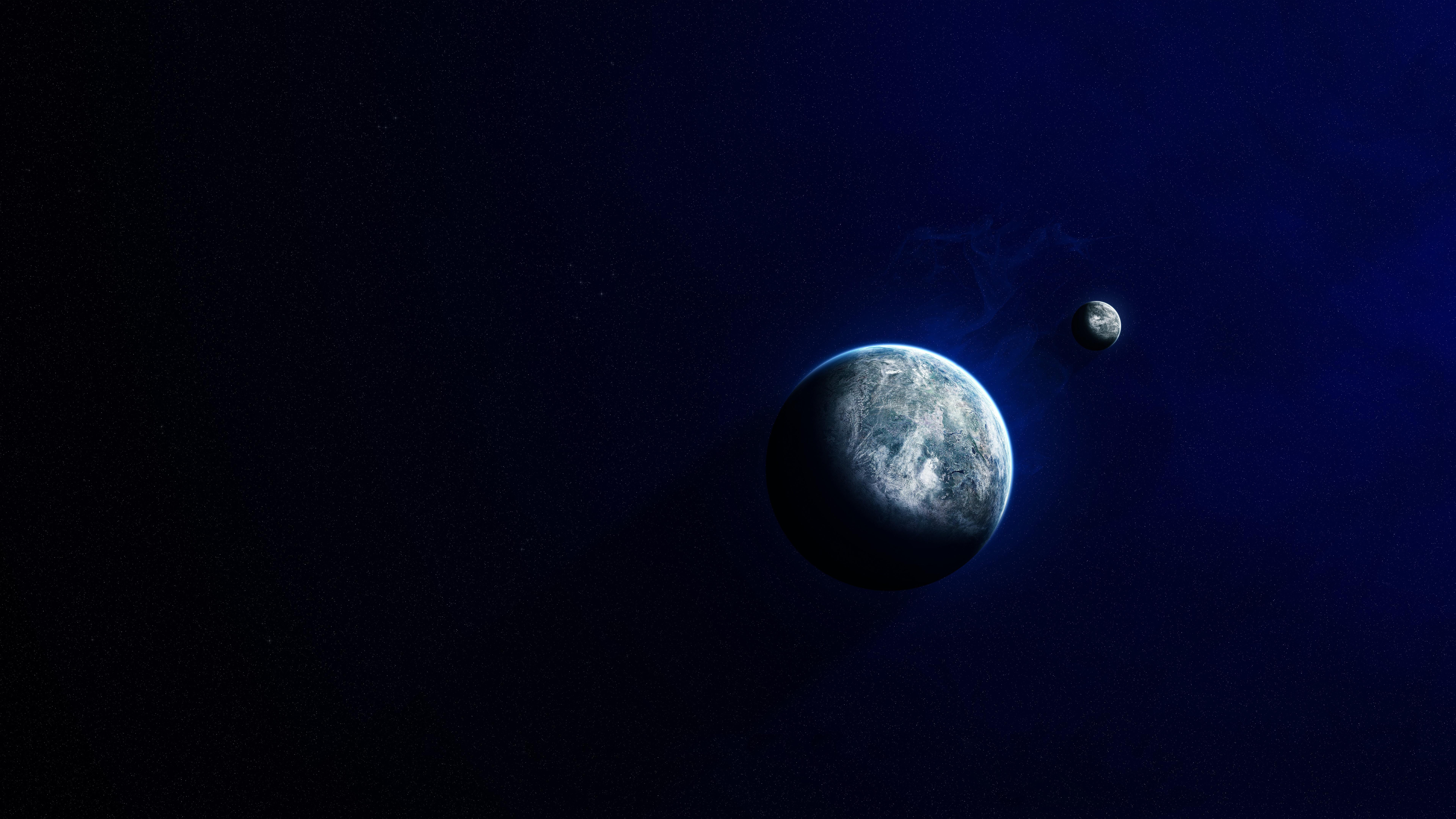 Картинка: Планета, спутник, свет, космос