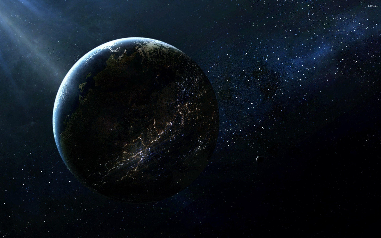 Картинка: Планета, Земля, спутник, Луна, космос, свет, освещение, огни, звезды, млечный путь