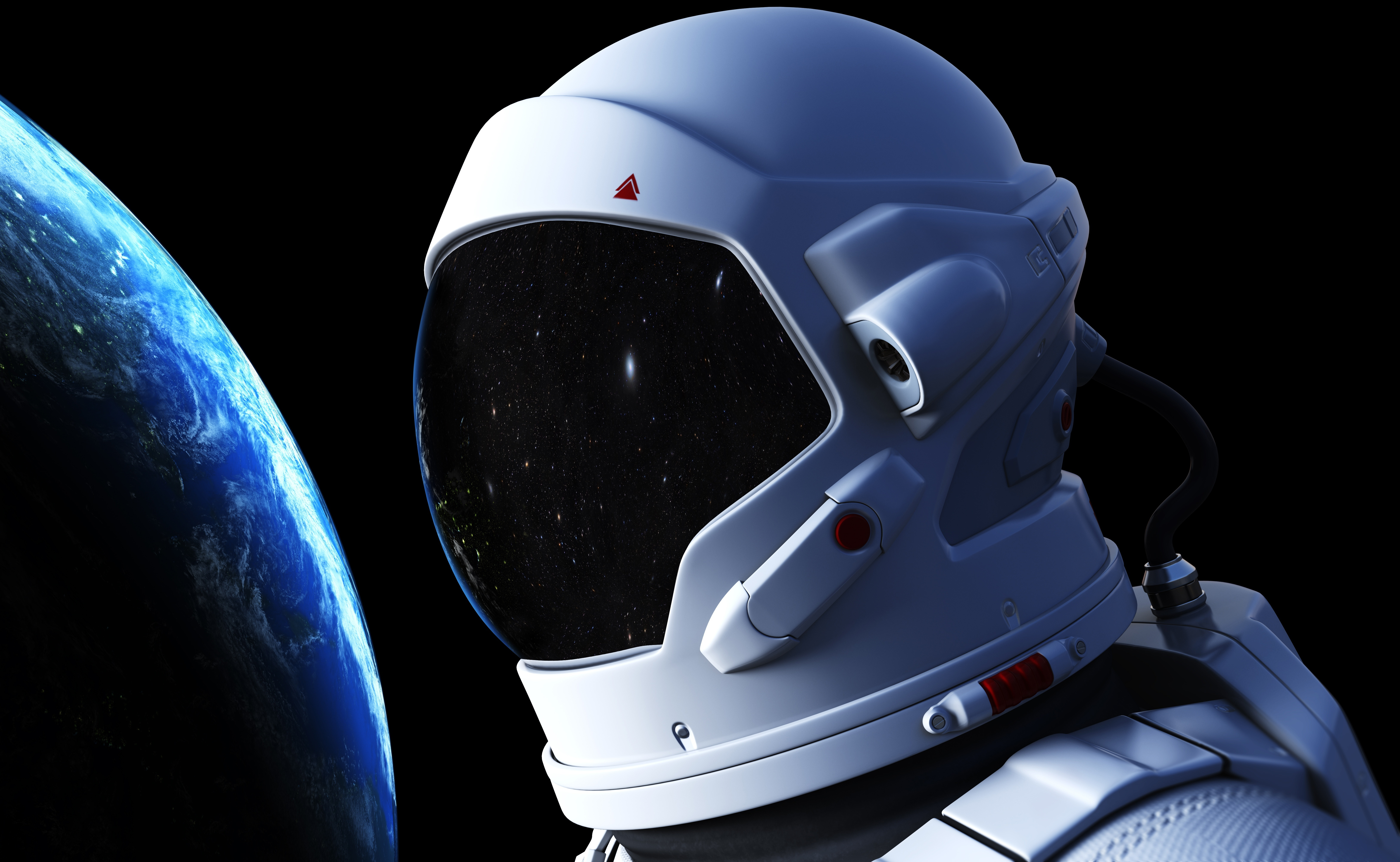 Image: Astronaut, spacesuit, space, planet, Earth, light, reflection, stars