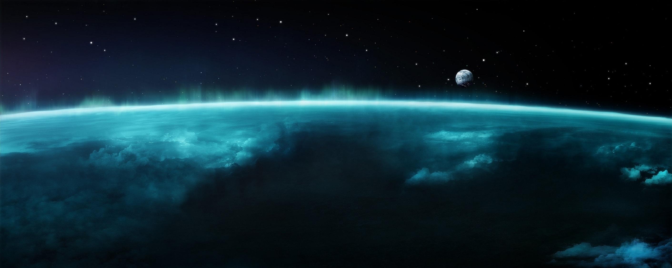 Картинка: Космос, Земля, спутник, Луна, облака, атмосфера, звёзды, свечение