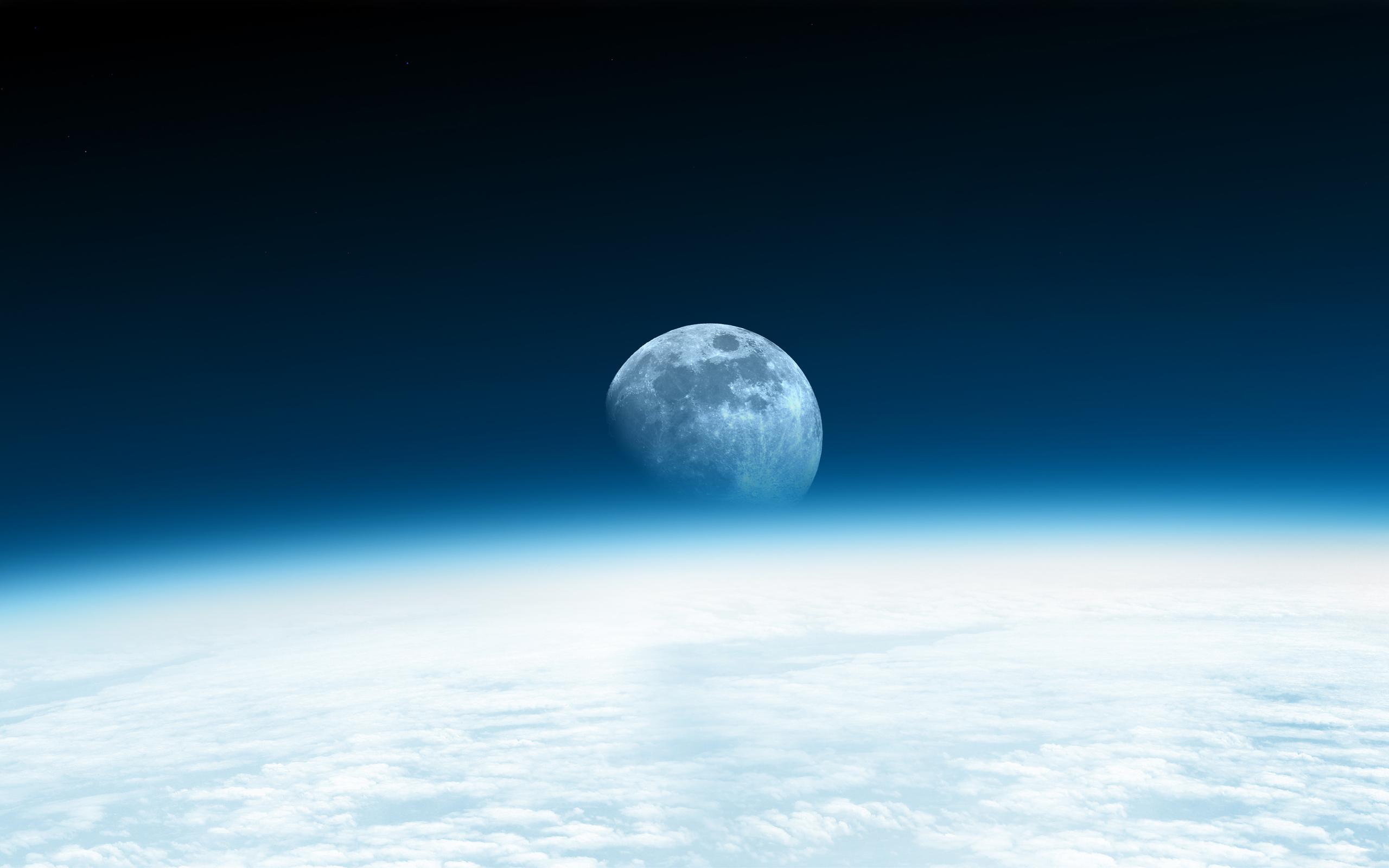 Картинка: Планета, Земля, спутник, Луна, атмосфера, облака, свечение