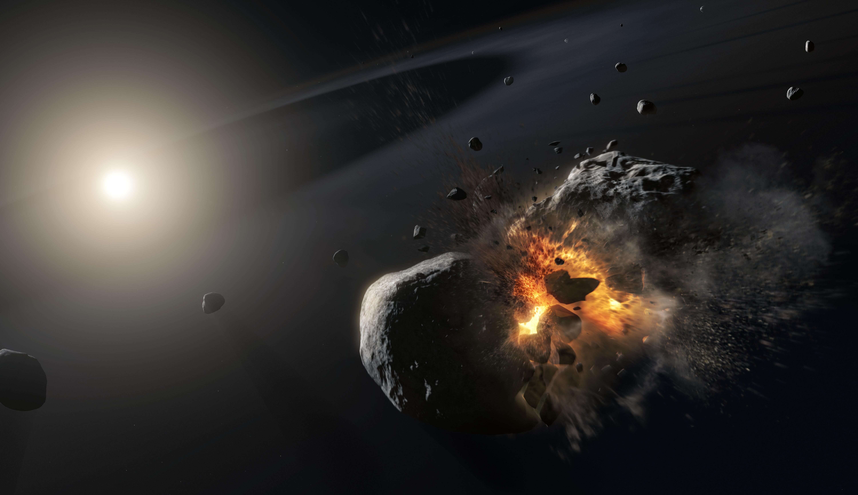 Картинка: Астероид, звезда, булыжники, свет, взрыв, волна, столкновение