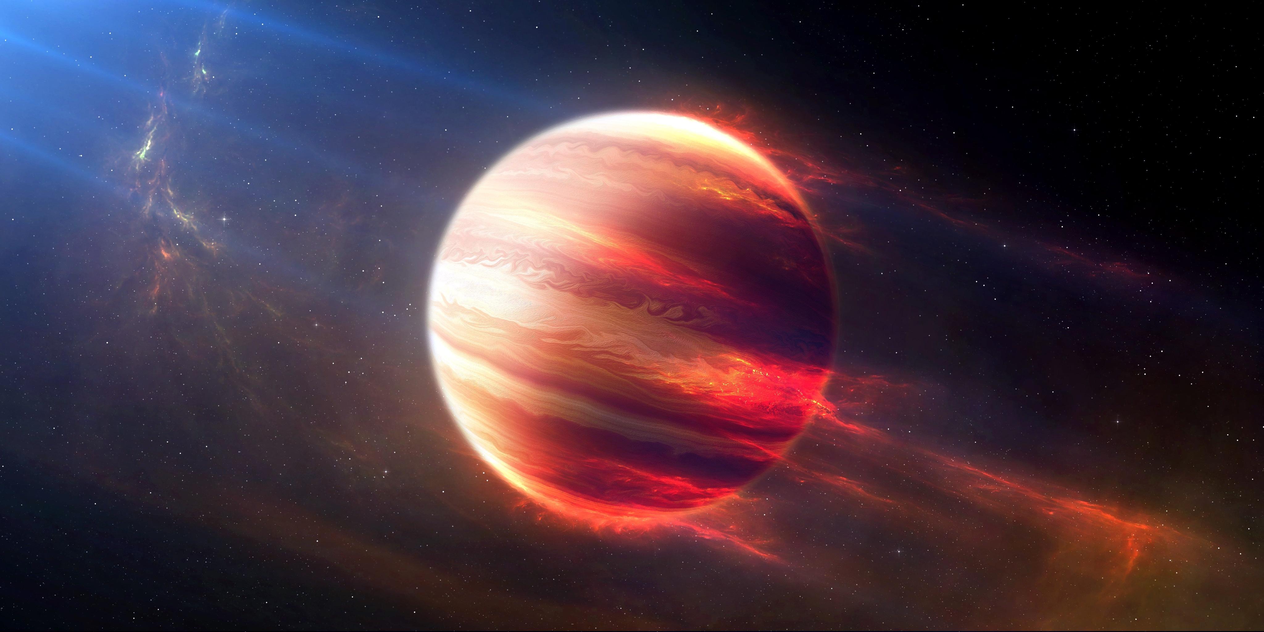 Картинка: Планета, космос, горячий юпитер, свет, лучи, звёзды