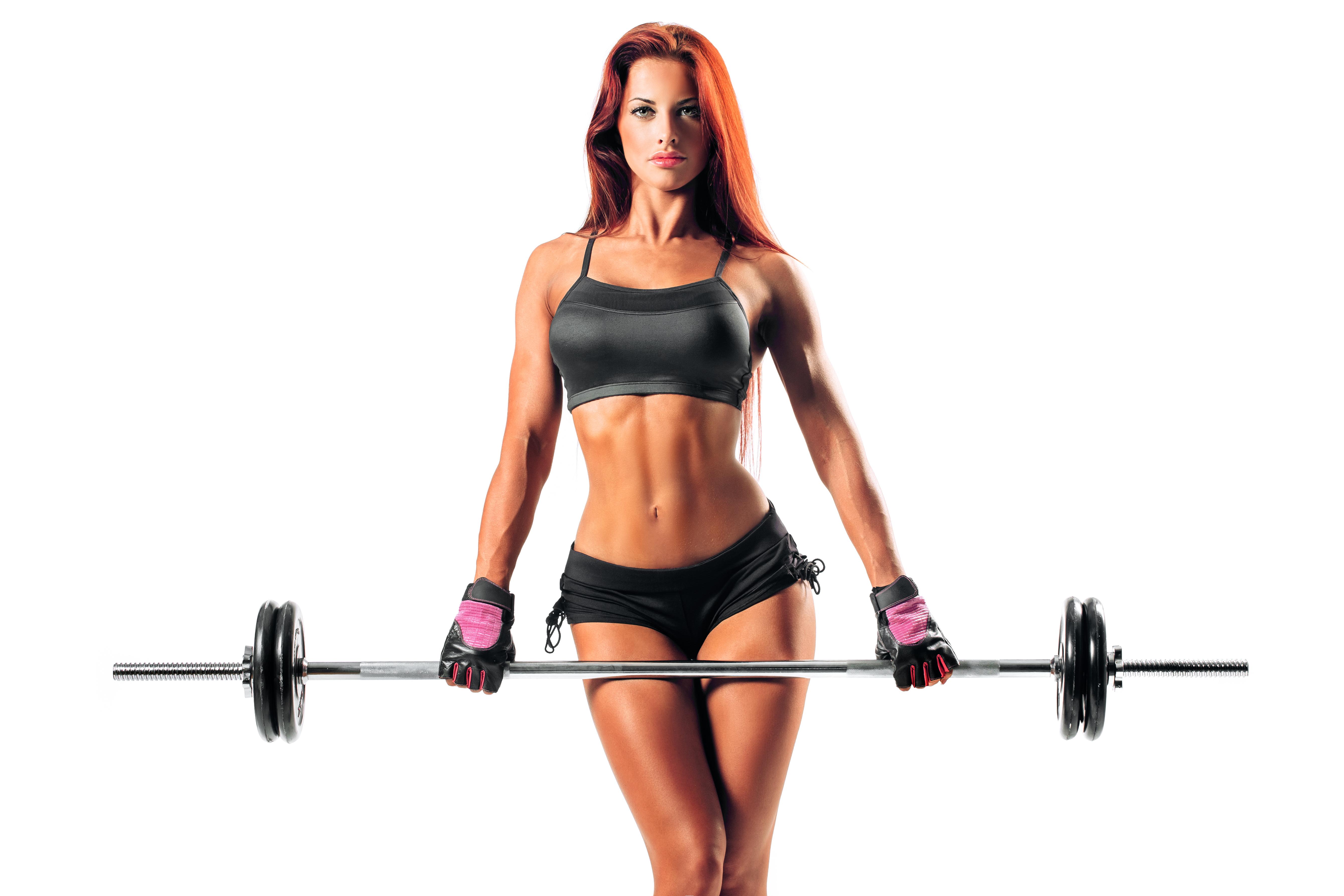 Картинка: Девушка, штанга, спортсменка, тело, фигура, стройная, белый фон