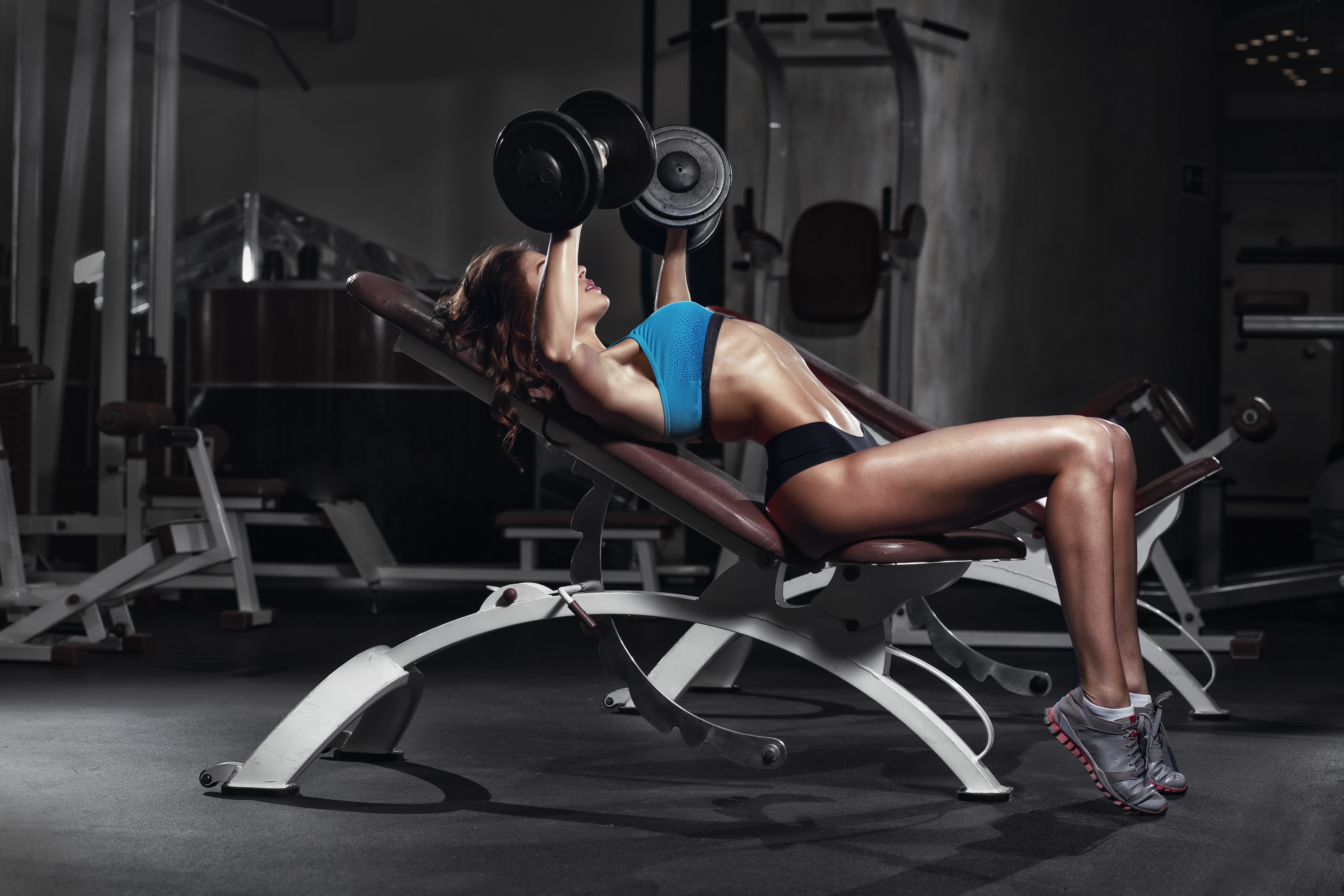 Image: Girl, shell, exercise, bench press, dumbbells, gym, deals