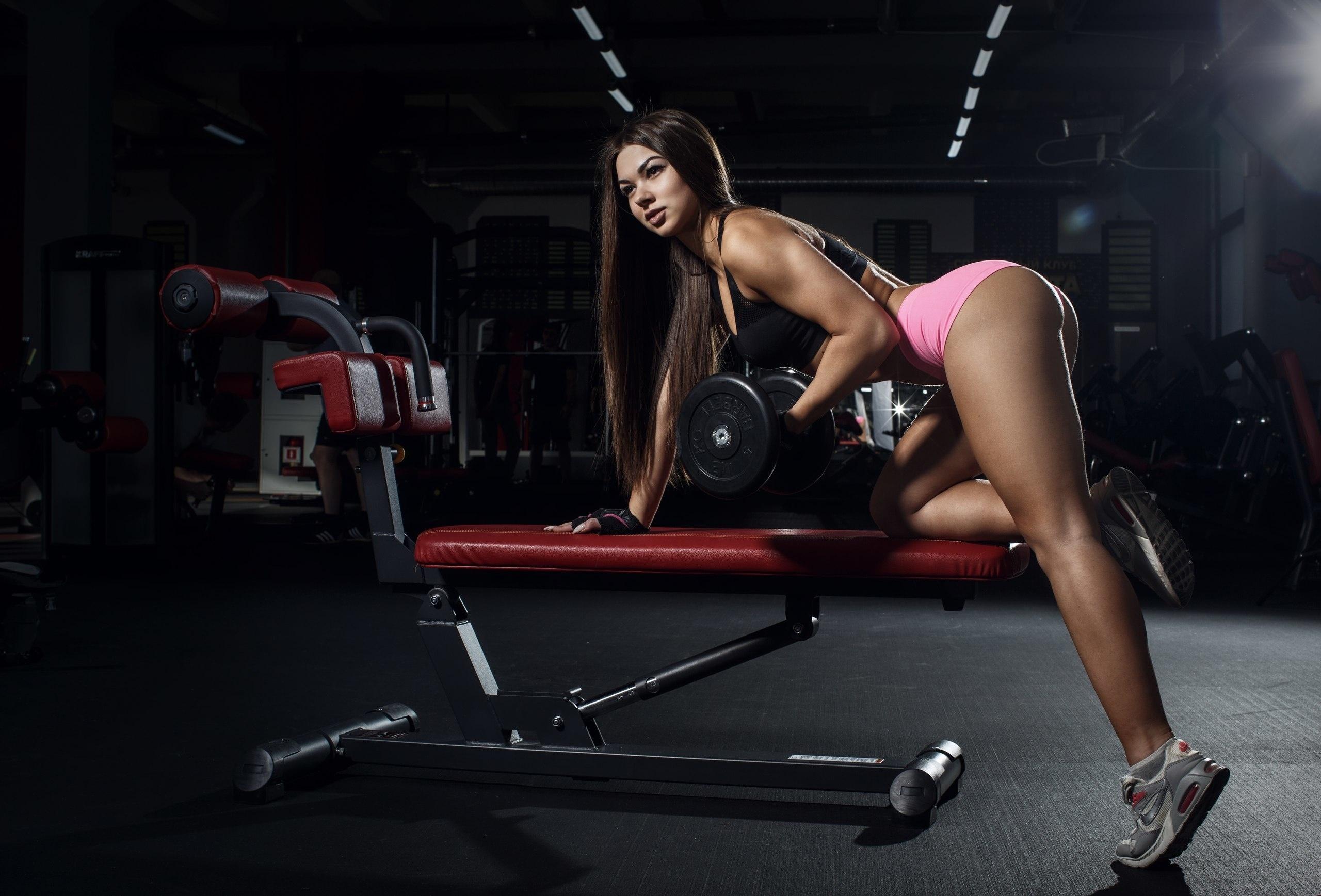 Image: Girl, figure, ass, hair, sports, fitness, dumbbell, exercise, gym