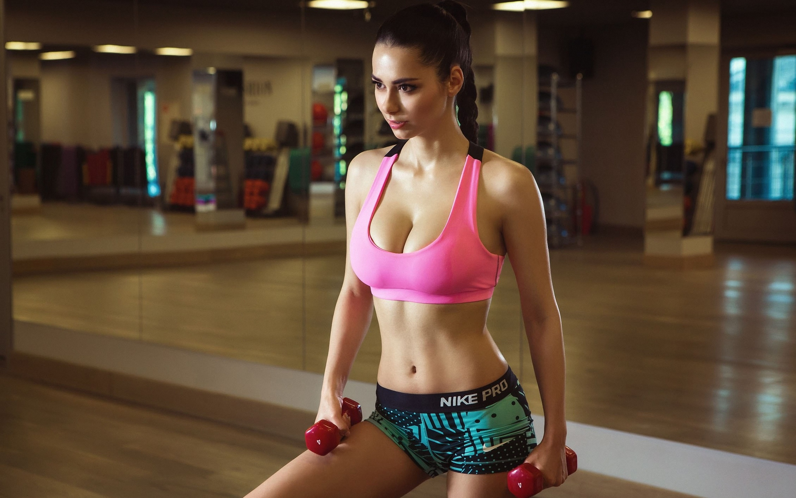 Image: Brunette, Helga Lovekaty, model, girl, fitness, dumbbell, t-shirt, shorts, braid, mirror