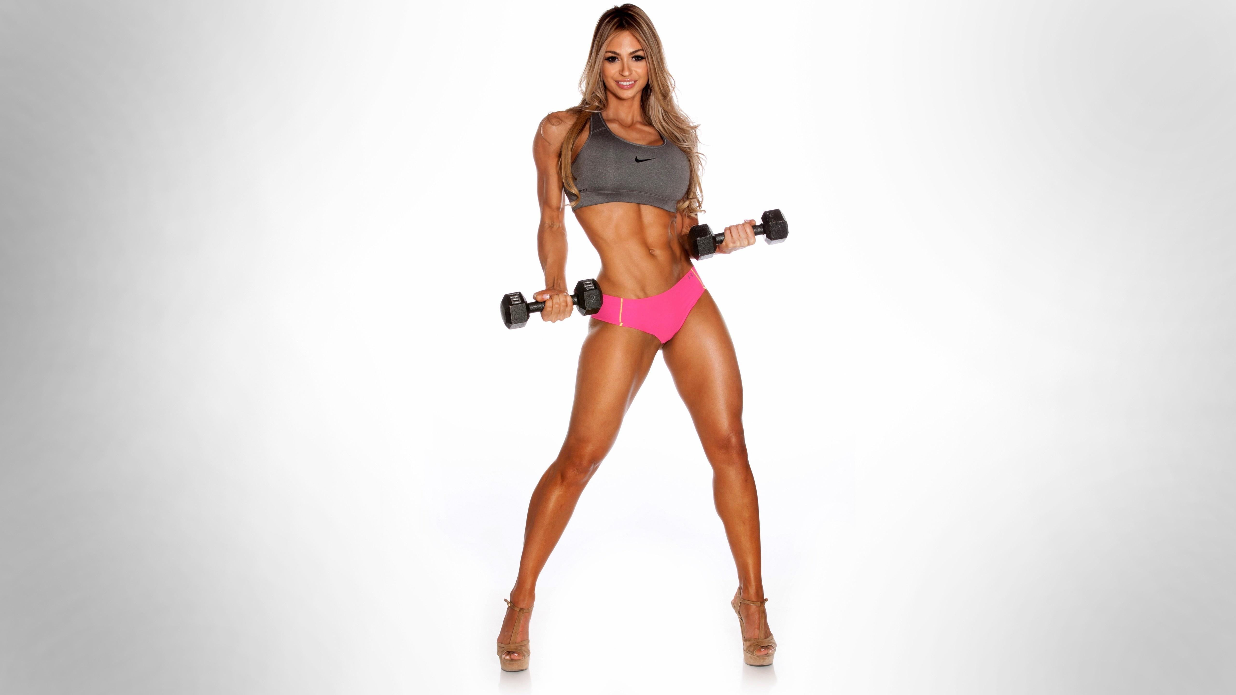 Картинка: Девушка, фитнесс, модель, Laura Michelle Prestin, гантели, стройная, фигура