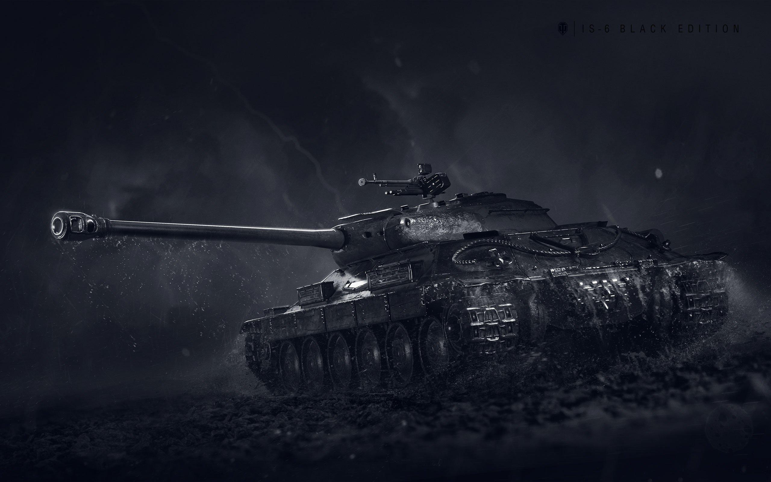 Картинка: Танк, пушка, грязь, дождь, гусеничный, IS-6, ИС-6, Black Edition, игра, World of Tanks