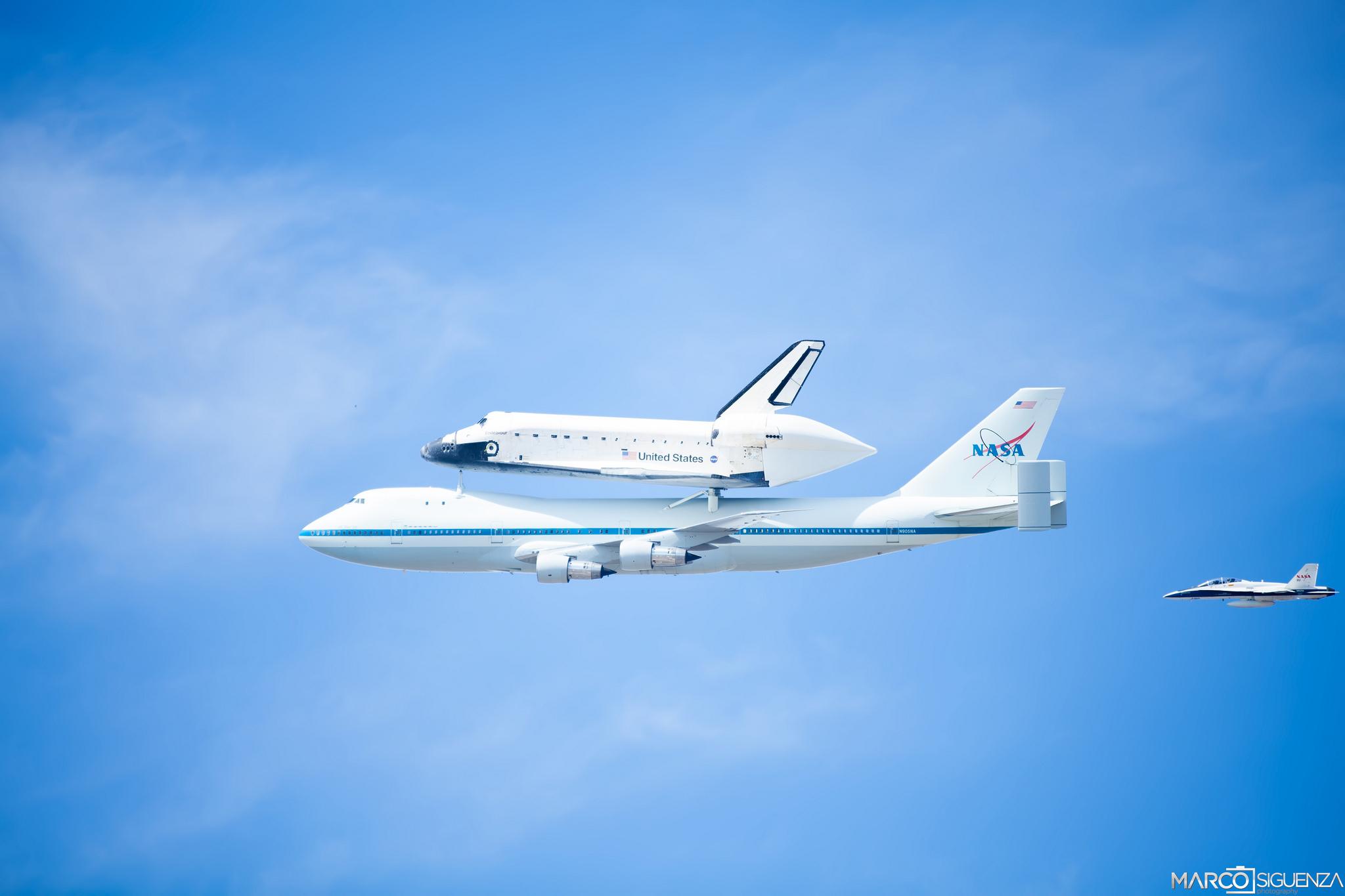Картинка: Небо, самолёт, боинг, шатл, NASA, летят