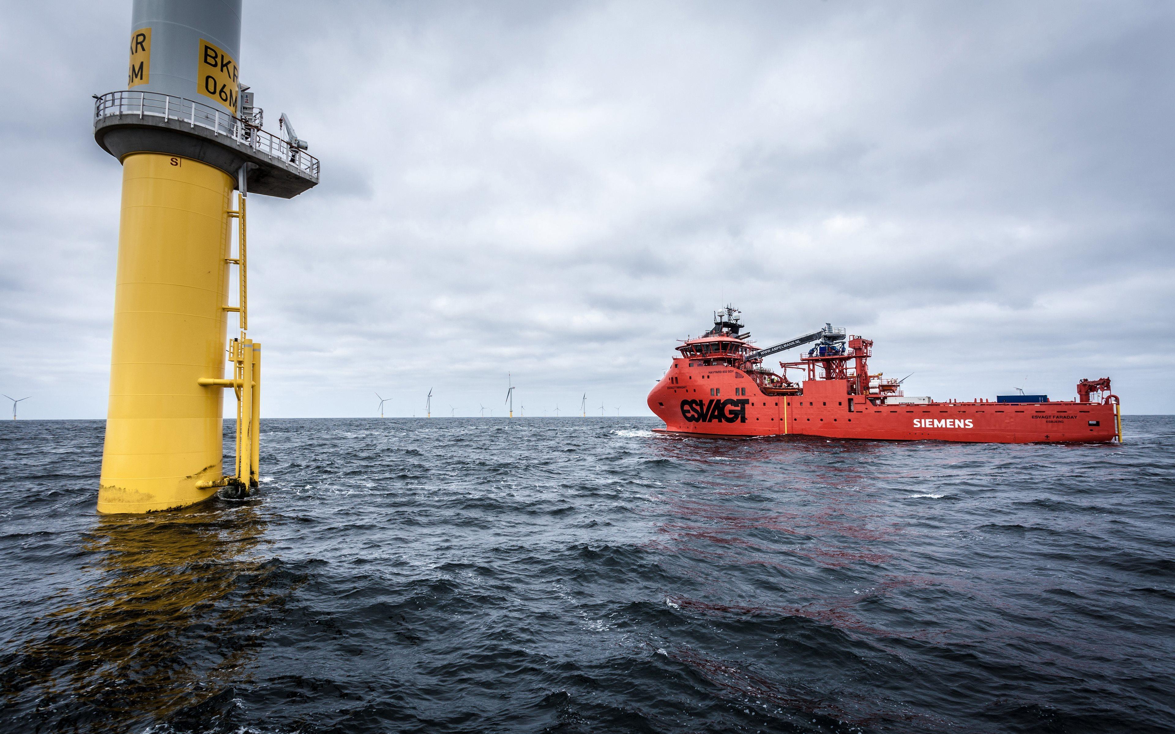 Картинка: Корабль, работа, техника, вышка, море, ветрогенератор, ВЭУ