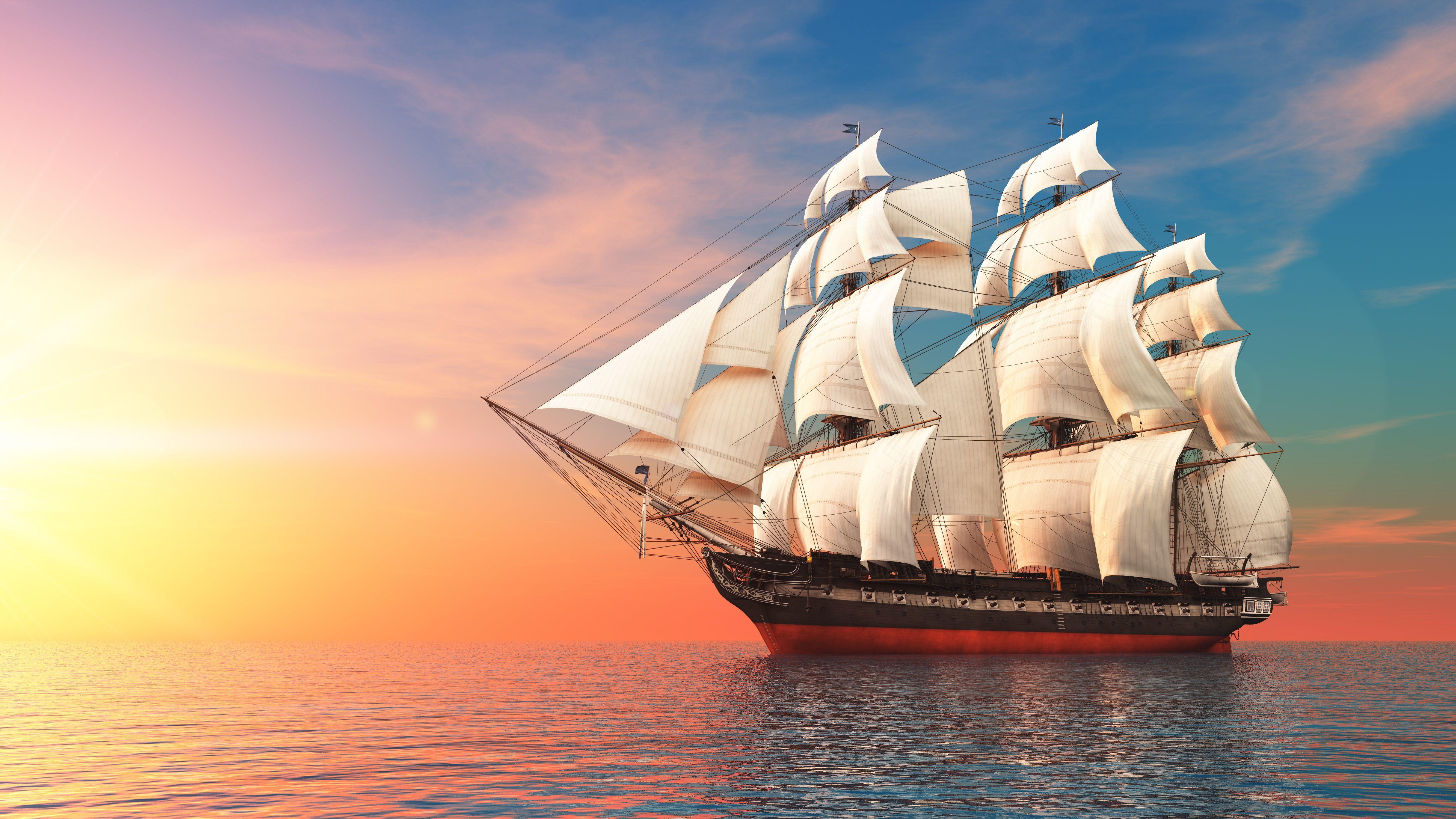 Картинка: Корабль, паруса, океан, вода, небо, солнце