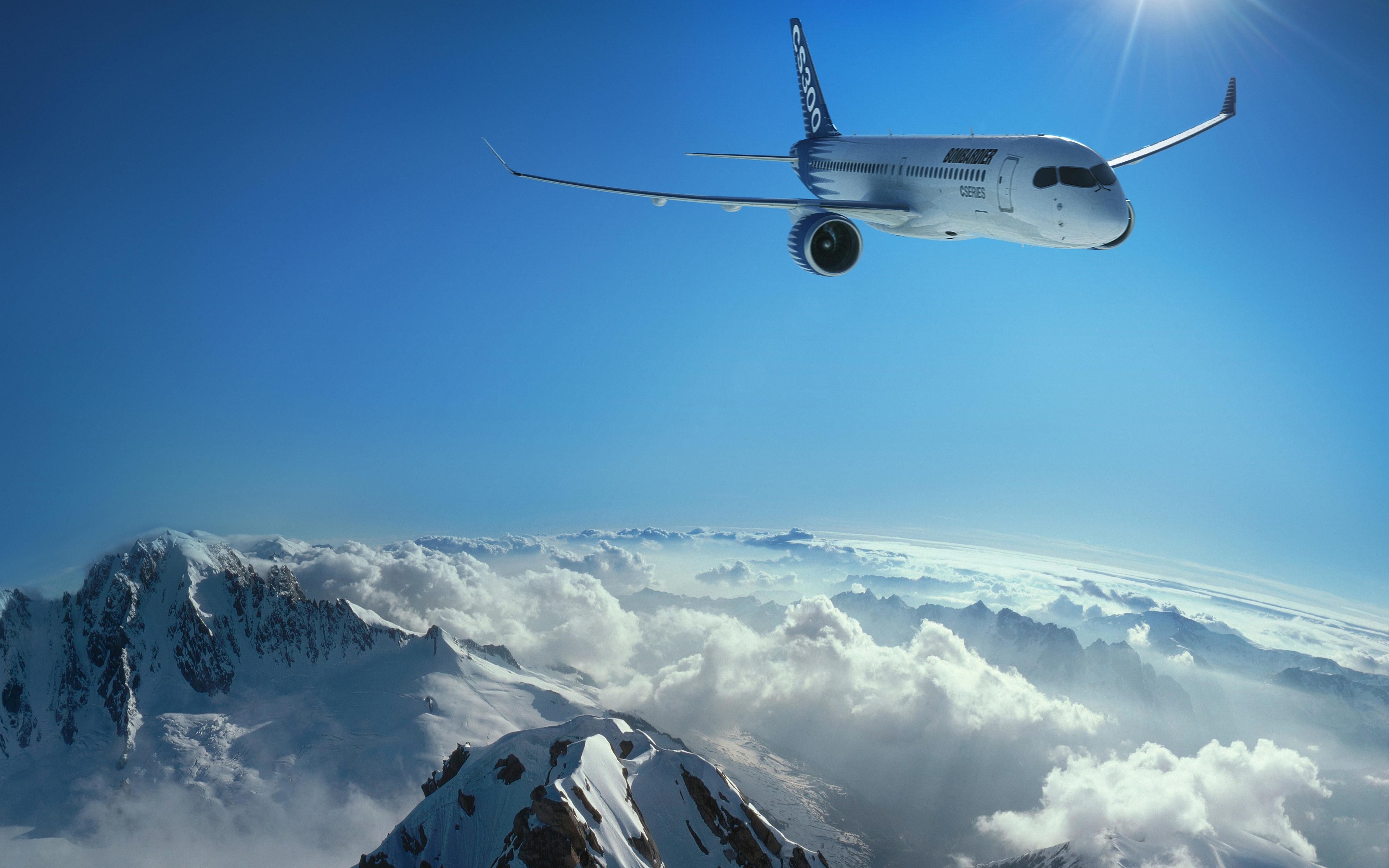 Картинка: Самолёт, летит, небо, облака, пейзаж, горы, солнце