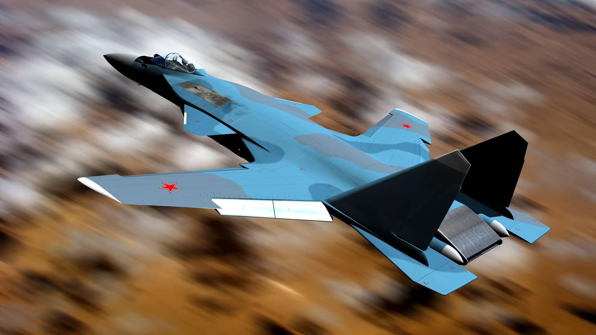 Картинка: Истребитель, Су-47, Беркут, в полёте, камуфляж, размытость, воздушное пространство
