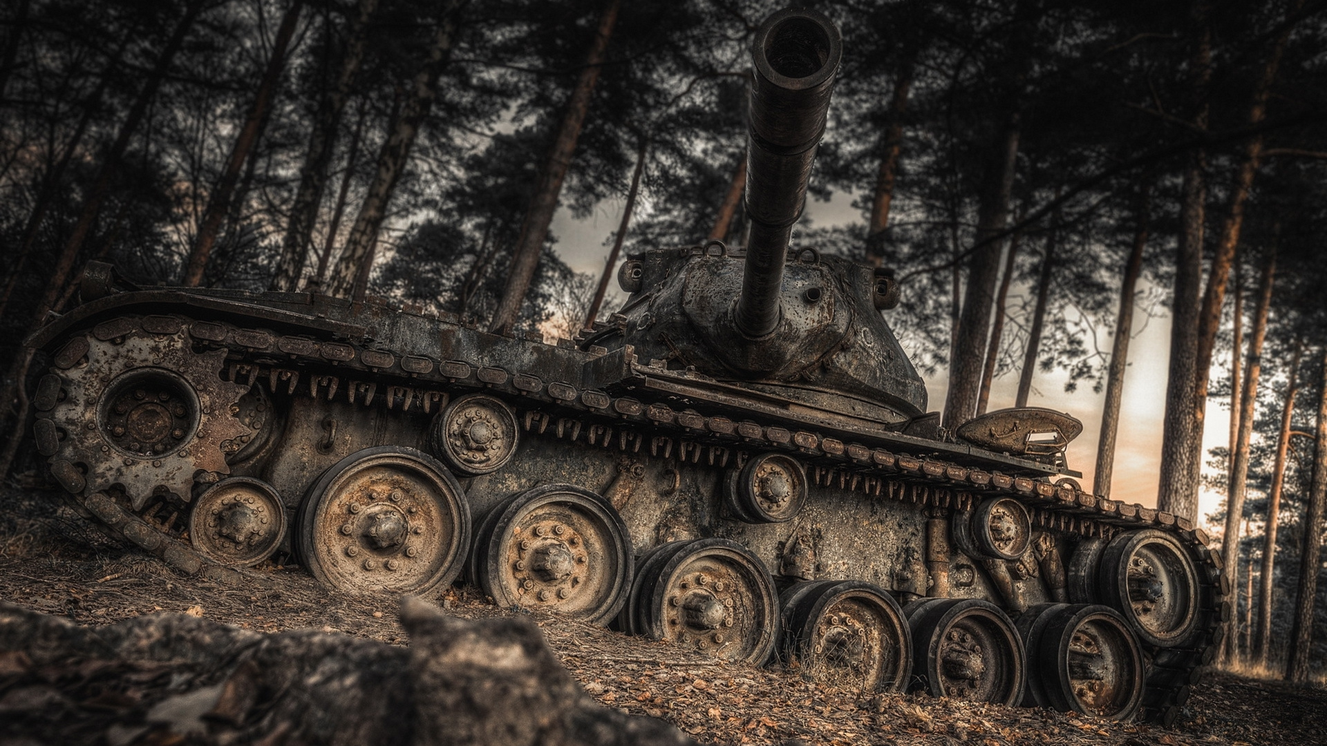 Image: Tank, abandoned, crawler, heavy military equipment, forest