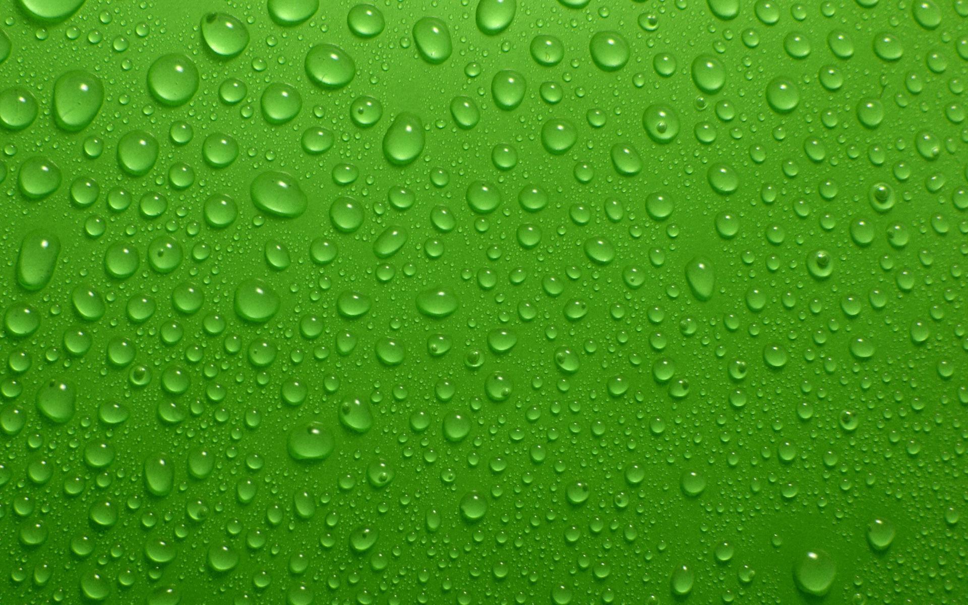 Картинка: Капли, вода, фон, зелёный