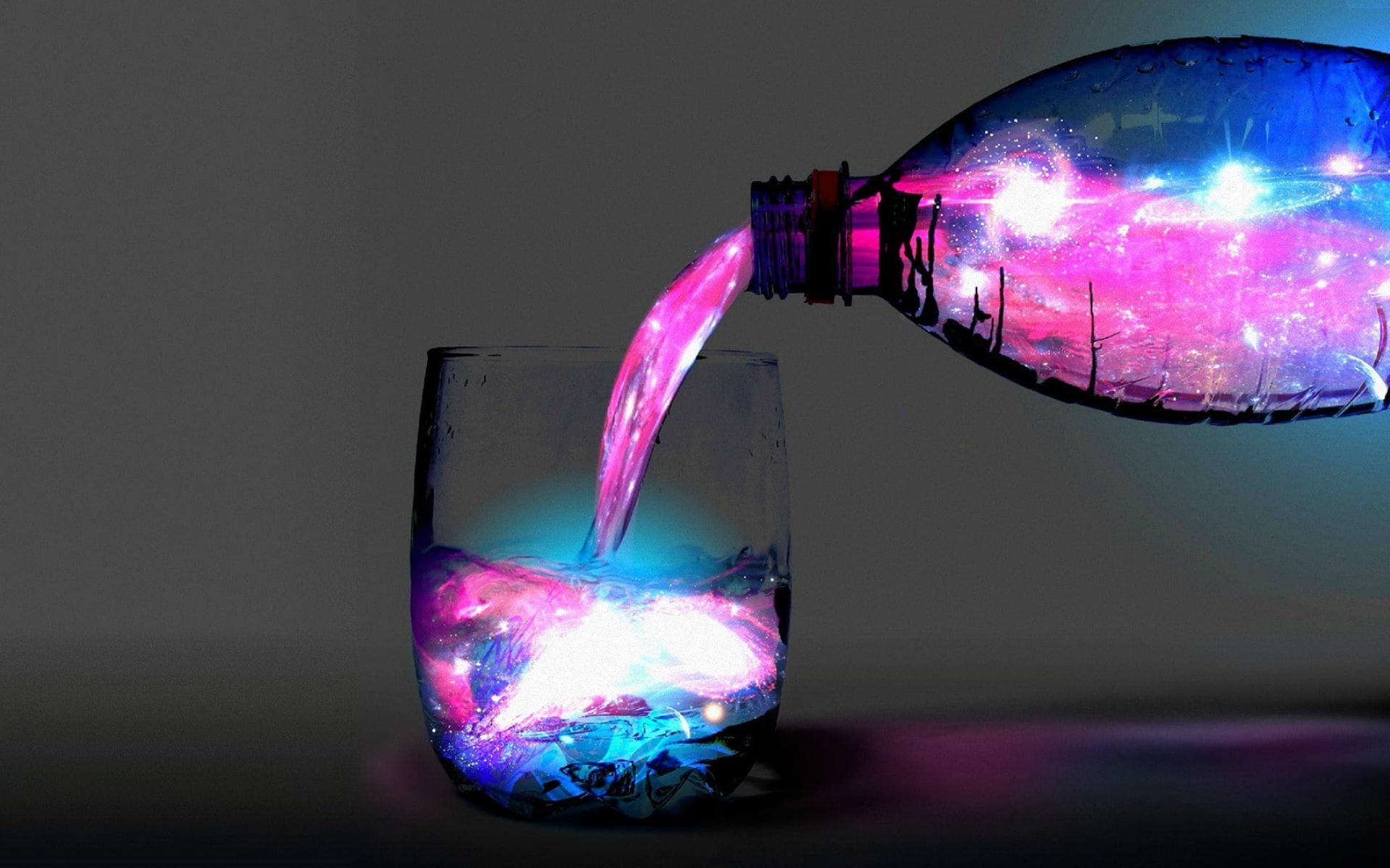 Картинка: Бутылка, стакан, вода, космическая