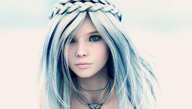Картинка: 3D, девушка, аниме, взгляд, волосы, рендеринг