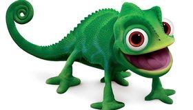 Картинка: Хамелеон, 3D, зелёный, Паскаль, глаза, хвост, улыбка