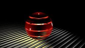 Картинка: Шар, сфера, полосы, красный, свет, огонёк, ball, light, line