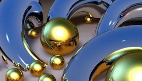 Картинка: Шары, блестящие, дуги, металл, 3D, отражение, зеркальные