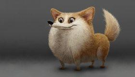 Картинка: Животное, лиса, пушистый, улыбка, взгляд, коротколапый