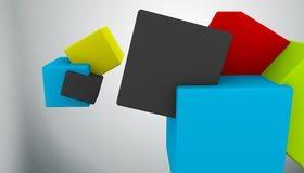 Картинка: Кубики, квадраты, разноцветные, невесомость, пространство