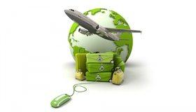 Картинка: Самолёт, полёт, сумки, чемоданы, путешествие, планета, компьютерная мышь, белый фон