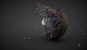 Картинка: Шар, бильярдный, восемь, шарики, много, деревянная чаша, отражение, серый фон