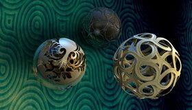 Картинка: Шары, сферы, узоры, отражение