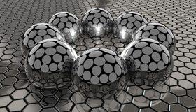 Картинка: Соты, шары, круги, отражение, серый