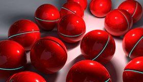 Картинка: Шары, красные, яркие, свет, отражение