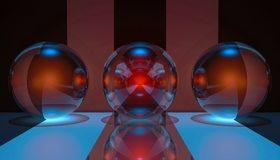 Картинка: Шары, сферы, три, круглый, отражение, полосы, чёрный