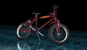 Картинка: Велосипед, 3d, колёса, руль, поверхность, отражение