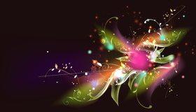 Картинка: Абстракция, цветок, стебли, листья, арт