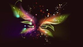 Картинка: Бабочка, порхание, арт, лепестки, стебли
