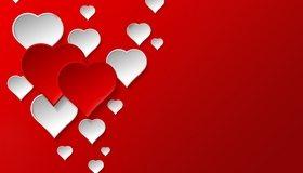 Картинка: Сердечки, красные, белые, красный фон, любовь