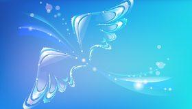 Картинка: Крылья, полёт, блики, изгиб, голубой фон