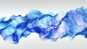 Картинка: Лента, ткань, синяя, белый фон