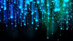 Картинка: Огни, сияние, мерцание, дождик, линии, тёмный фон