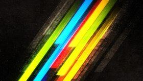 Картинка: Линии, частицы, точки, разноцветные, полосы