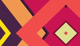 Картинка: Фигуры, ромбы, разноцветные, углы, линии, цвет