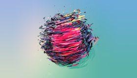 Картинка: Шар, розовый, частицы, фигуры, цвета, голубой фон