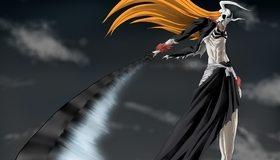 Картинка: Bleach, меч, взмах, волосы, небо, маска, рога, череп, Ичиго Куросаки, пустой